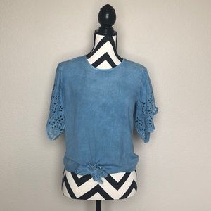 Tops - Chambray Eyelet Top
